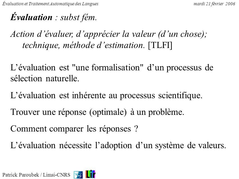 Évaluation : subst fém.Action d'évaluer, d'apprécier la valeur (d'un chose); technique, méthode d'estimation. [TLFI]
